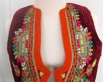Burgundy Colorful Vintage Short Vest