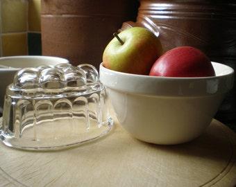Vintage Mason Cash Pudding Bowl Pudding Basin Mixing Bowl AND Vintage Glass Jelly Mould Jello Mold Traditional English Kitchenware