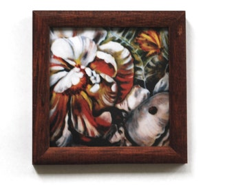 Miniature print of my flowers painting wood frame cute