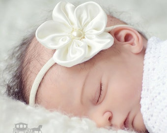 Ivory Satin Pearl Flower Girls Baby Hair Headband Christening