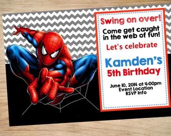 Spider-Man Birthday Invitation - Spider-Man Invitation - Spider-Man Invite - Chevron Pattern DIGITAL Spiderman