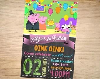Peppa Pig Birthday Invitation Chalkboard Christmas - Peppa Pig Invitation -Peppa Pig Invite - DIGITAL