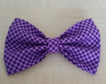 Purple checkered hair bow