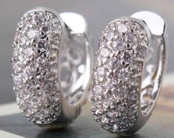 18K white gold filled white sapphire earrings