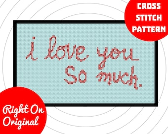 I Love You So Much Austin Texas Graffiti Cross Stitch Pattern