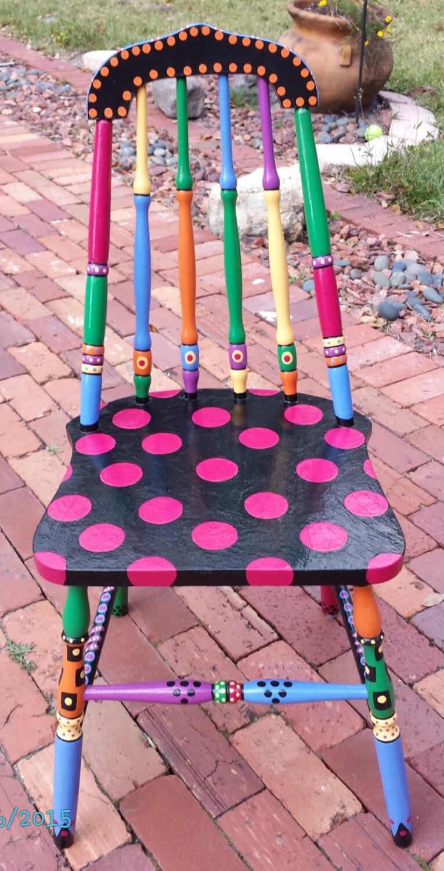 handpainted ooak chair custom colorful painted chair pink