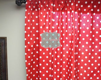 red and white polka dot curtains etsy. Black Bedroom Furniture Sets. Home Design Ideas