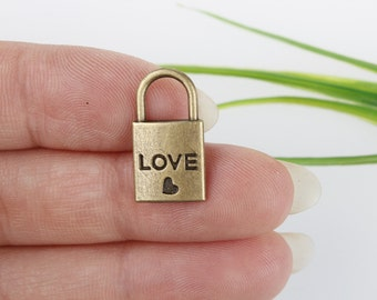 Own Charm~ Lock Charms, Antique Bronze Lock with Heart Charm Pendants 20x10mm