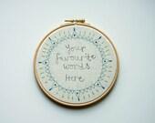Custom Hoop Art, Personalised Gift, Textile Wall Art, Custom Handwriting, Wedding Gift, Starburst Design