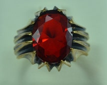 Rare Bronze Men Ring Gothic Design Size 10 Persian Antique Vintage Design Red Cubic Zirconia