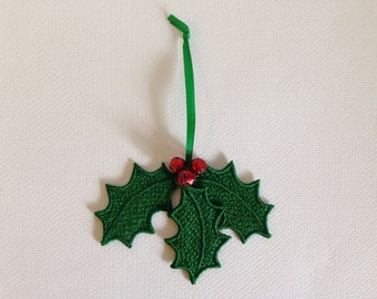 Embroidered Holly & Berries Christmas Ornament (Free Standing Lace)