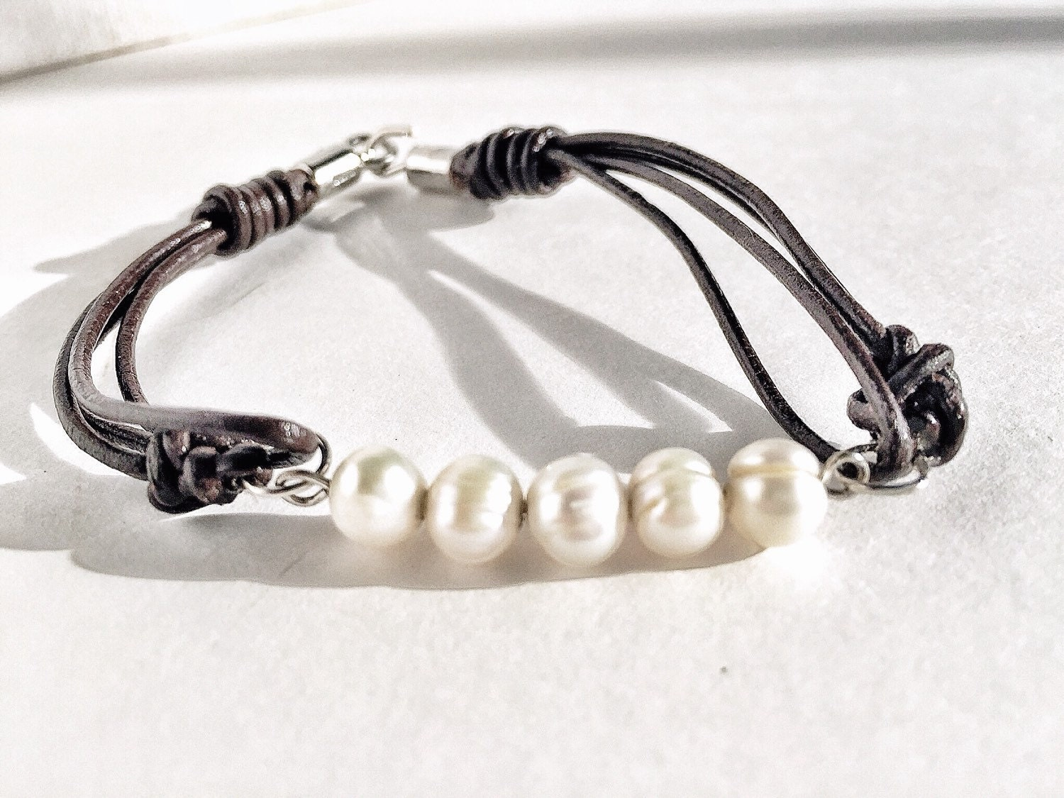 clearance pearl and leather bracelet freshwater pearl. Black Bedroom Furniture Sets. Home Design Ideas