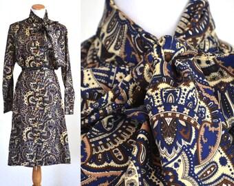 Rare 1970s Custom Saks Fifth Avenue Dress Made 1972 Navy Brown Paisley