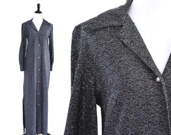 1970s Silver Metallic Maxi Dress Loll Ease