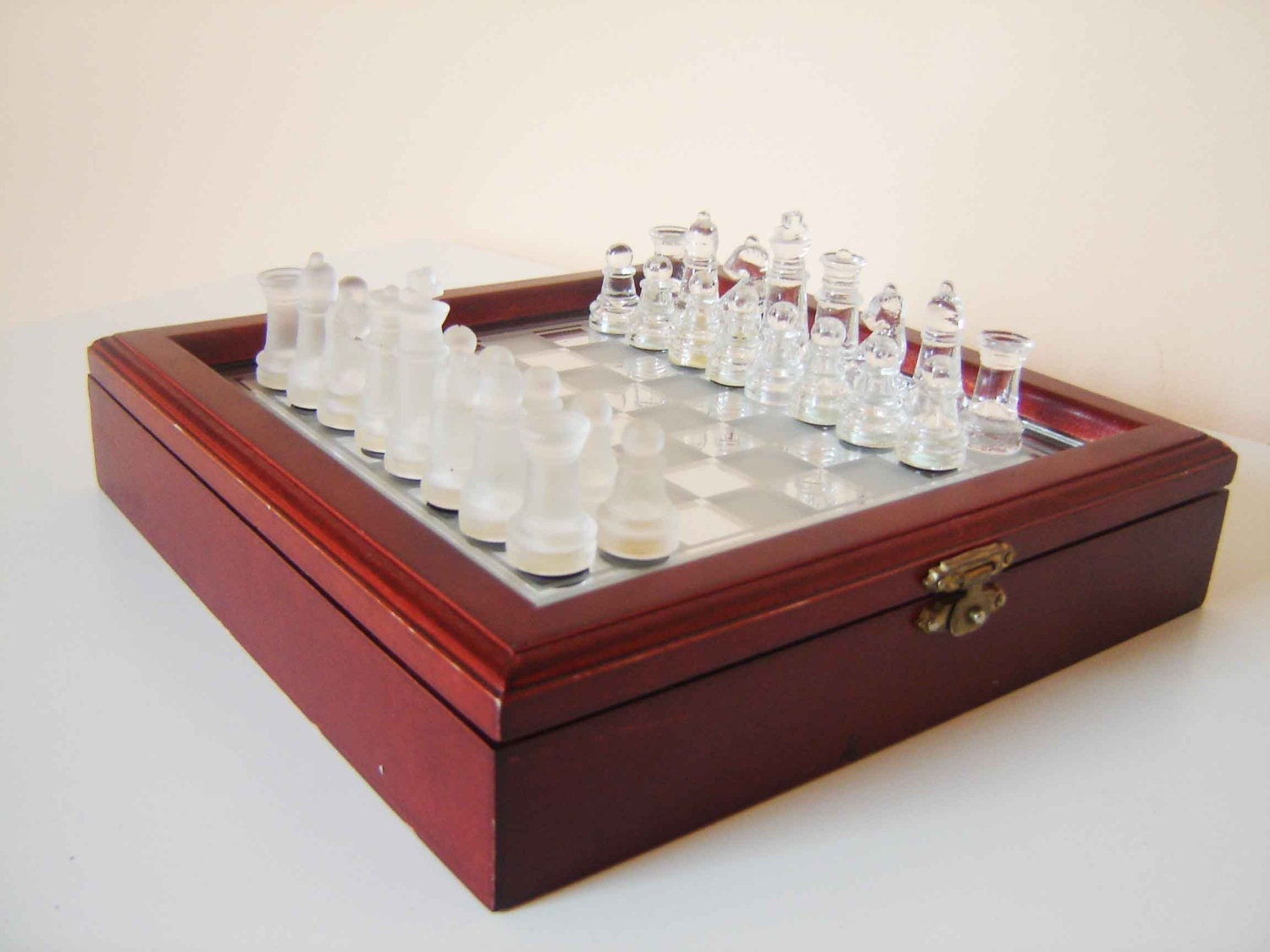 Vintage Luxury Glass Chess Set In Original Wooden Box With