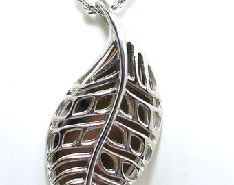 Stainless Steel Cutout Leaf Pendant with chain