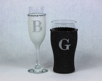 Bride & Groom Glitter Champagne and Pint Glass Set