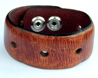 Men's distressed Leather Cuff bracelet