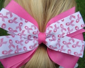 Breast Cancer Awareness Bow on alligator clip with teeth