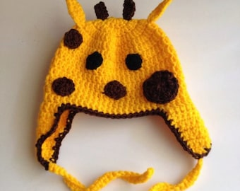 Giraffe baby beanie hat for babies 6 to 18 months