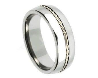 Titanium Mens Wedding Ring Band 8Mm Silver Braded Inlay new TI266