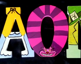 Handpainted Alice in Wonderland Letters