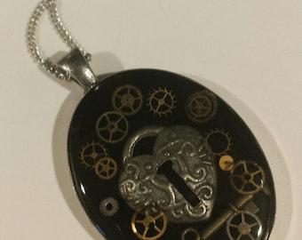 Lock and Key Resin Pendant