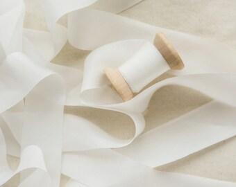 Natural habutai silk bias ribbon // BY THE METER