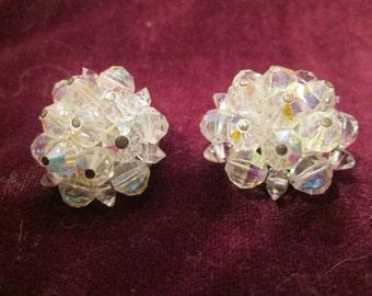 Vintage Laguna Rhinestone/Aurora Borealis Clip-On Earrings