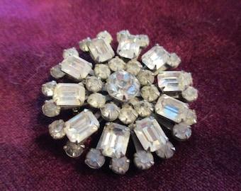Classic vintage round clear rhinestone brooch--beautiful