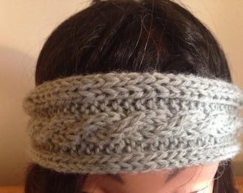 Grey Knit Infinity headband
