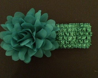 Green headband with chiffon flower
