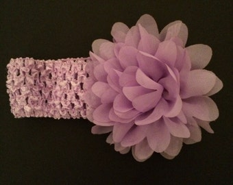 Lavender headband with chiffon flower