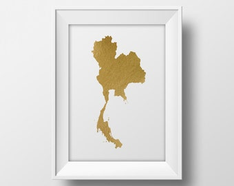 Gold foil Thailand map printable map, wall art Thailand map print country map poster printable thai art instant download gold map asia south
