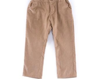 Pantalon bébé en velours beige