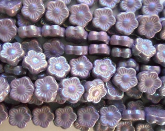 25 10mm Lavender, Luster Iris Opaque Amethyst Czech glass flower beads, purple pressed glass flower beads, C6925