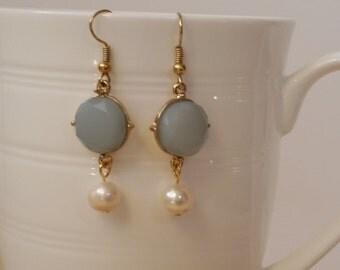 Peony Earrings - blue