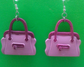 Children Pink Pocketbook Earrings