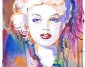 Marilyn Monroe art, watercolor print, painting original, Old Hollywood, abstract art prints, Celebrity Portraits, movie poster, modern art