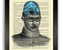 Squid on His Mind Art Print, Weird Poster Artwork, Strange Unusual Wall Art Decor, Gifts for Boyfriend, Steampunk Decor, Steampunk Book Art