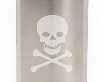 Skull And Crossed Bones Etched Hip Flask 8oz
