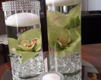 Bling Cylinder Floral Floating Candle Centerpiece set with mirror and tealights