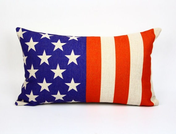 American flag pillow cover, Stars and Stripes pillow cover cotton linen waist pillow cushion cover pillowcase/home decor/houseware