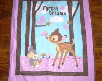 """Disney's *Bambi and Thumper Forest Friends* Baby Toddler 36""""x42"""" Quilt Blanket Bedding Napping Blanket Nursery Crib Bedding"""