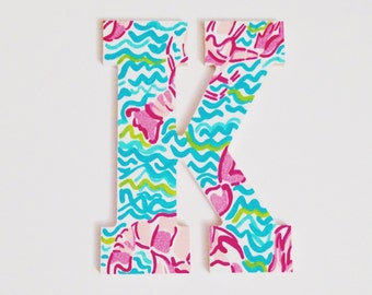 "8"" Hand Painted Wooden Letter - Lilly Pulitzer Inspired"