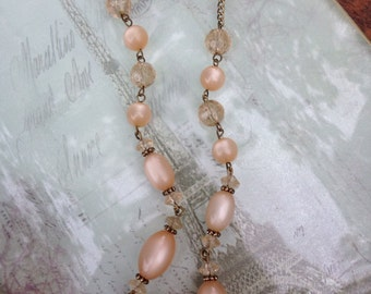 Vintage smoky quartz-like and rose pearl beaded necklace