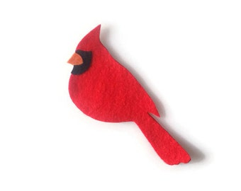 Christmas Cardinal Iron On Patch - No Sew - Felt