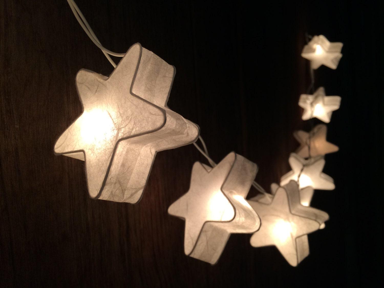 20xWhite star paper string light for decor bedroom