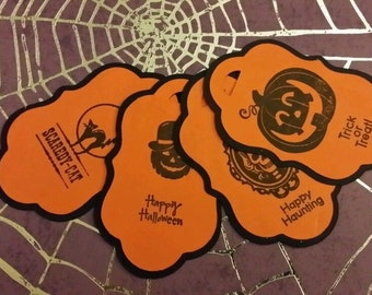Set of 4 Handmade Halloween Tags