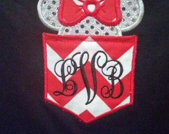 Adult or kids Monogrammed Minnie Mouse Pocket Shirt, Minnie Ears/Head w/ Bow Applique Shirt. Adult Disney Shirt. Please specify colors